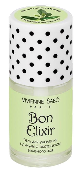 Vivienne Sabo гель для удаления кутикулы с экстрактом зеленого чая Bon ElixirVivienne Sabo<br>Этот профессиональный гель для удаления кутикулы Vivienne Sabo — настоящая палочка-выручалочка. С его помощью кутикула удаляется быстро и безболезненно, а в дальнейшем ее рост замедляется, зато кожа вокруг ногтя выглядит ухоженной и ровной.   Советы по применению:  Нанесите на кутикулу, оставьте на 2-3 минуты, затем аккуратно сдвиньте кутикулу апельсиновой палочкой для маникюра и тщательно вымойте руки. После процедуры рекомендуется использовать масло Bon Elixir<br><br>Вес г: 20<br>Бренд : Vivienne Sabo<br>Объем мл: 15<br>Страна производитель : Россия<br>Тип средства для ногтей : для кутикулы