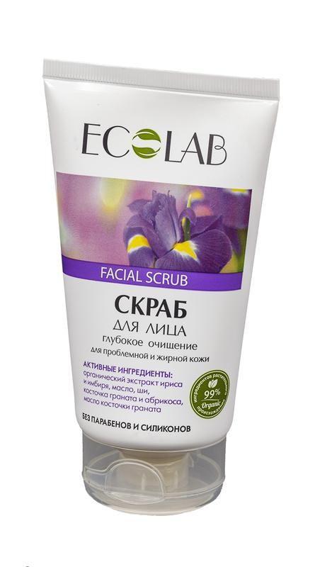 Ecolab Скраб для лица Глубокое очищение для проблемной и жирной кожиДля лица<br>Скраб Эколаб для лица содержит 99% ингредиентов растительного происхождения.<br>Входящие в состав органический экстракт ириса и имбиря оказывают очищающее, увлажняющее и противовоспалительное действие, успокаивают, снимают раздражение, сужают поры, повышают и поддерживают эластичность кожи. Абрикосовая и гранатовая косточка нежно отшелушивает кожу, способствуя ее обновлению. Масло ши и косточки граната увлажняют, питают и восстанавливают кожу.<br>Продукт не содержит парабенов и силиконов.<br>Способ применения: Нанести небольшое количество скраба на влажную кожу лица массажными движениями, затем смыть теплой водой. Использовать 2-3 раза в неделю. Для наружного применения.Органическое масло ши<br>Масло ши (Карите) хранит в себе всю природную силу и абсолютно безопасен даже для детей и людей с очень чувствительной кожей.<br>Масло ириса<br>Благодаря содержанию изофлавонов, активизирует выработку коллагена и эластина. Способствует удержанию влаги в клетках кожи, что так же является антивозрастным действием.<br>Органический экстракт имбиря за его способность восстанавливать жировой баланс кожи. Тонизирует, улучшает тругор кожи, оказывает антисептическое и антиоксидантное действие.<br><br>Вес г: 170<br>Бренд : Ecolab<br>Объем мл: 150<br>Тип кожи : жирная, проблемная<br>Страна производитель : Россия