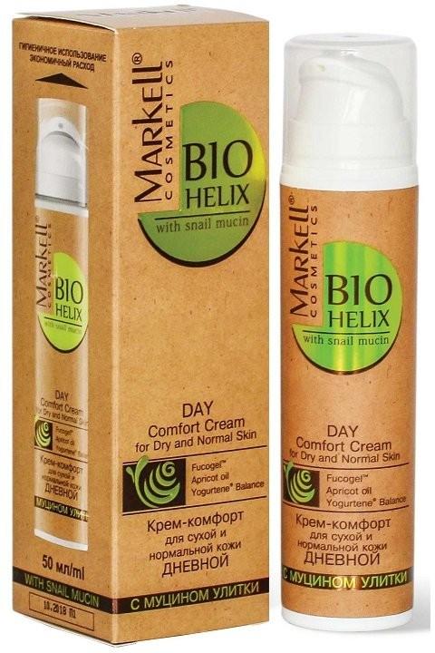 Markell Крем-Комфорт с муцином улитки для сухой и нормальной кожи дневнойMarkell<br>Идеальный крем для восполнения уровня увлажненности кожи и предотвращения возрастных изменений. Разработан с учетом особенностей сухого типа кожи. Глубоко увлажняет и обеспечивает удержание влаги в коже. Интенсивно питает и насыщает кожу микроэлементами и витаминами. Борется с возрастными изменениями, способствует нормализации естественной микрофлоры кожи. Муцин улитки обеспечивает быструю регенерацию и обновление кожи, устраняет покраснения и шелушение. Fucogelтм мгновенно глубоко увлажняет. Абрикосовое масло интенсивно питает кожу. Yogurtene® Balance нормализует естественную микрофлору кожи.Применение: наносить ежедневно утром на тщательно очищенную кожу лица, избегая области вокруг глаз.<br><br>Вес г: 70<br>Бренд : Markell<br>Объем мл: 50<br>Тип кожи : нормальная, сухая<br>Консистенция : крем<br>Тип крема : увлажняющий, питательный, антивозрастной, витаминизированный<br>Возраст : 30+, 35+, 40+, 45+<br>По времени суток : дневной уход<br>Страна производитель : Белоруссия