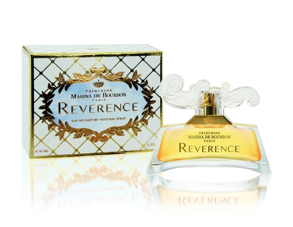 Princesse Marina De Bourbon Paris Reverence Парфюмерная вода 50 млРекомендации:<br>ЦветочныйРуководство по выбору:<br>При выборе обратите внимание на вид аромата и ноты, прислушайтесь к своим эмоциям.Рекомендации:<br>При выборе обратите внимание на вид аромата и ноты, доверьтесь вашим эмоциям.<br>Описание:<br>ФЛАКОН: В прошедшие века поклон был общепринятым жестом, выражающим уважение. Кроме того, с поклона начинался любой танец. Сейчас с поклоном обращаются к Принцам и Принцессам. Их аристократическое общество все еще поддерживает эту традицию в особых случаях. Парфюмеры Princesse Marina de Bourbon выпустили новый аромат, сочетание современности и барокко, чистоты и яркости, смешение красок, ощущений и эмоций. Современный прозрачный флакон украшен переливающимся локоном на крышке, которая напоминает дамскую прическу 18 века в стиле барокко. АРОМАТ: Очаровательный, свежий и утонченный аромат, приглашающий в романтическое путешествие. Reverence создан в цветочно пряной гамме специально для обольстительной и беззаботной женщины. Свежесть бергамота смешивается с мощными пряными нотами Перца, немедленно раскрывающими характер парфюма. Сладость привносят ягоды Брусники, прозрачные ноты Жасминового чая, мягкой Розы и дерзкого Персика, создающие отчетливый и захватывающий аромат. Восточные молочные ноты Сандалового дерева и захватывающий Мускус придают аромату чувственность.  <br>Мнение эксперта:<br>Закрыв глаза, вдыхаю аромат и уношусь в дивный сад, где на нежных лепесках фиалок сверкают бриллиатами капли росы Принцесса Марина де Бурбон<br>Особенности состава:<br>Cвежий и утонченный аромат.<br>Состав:<br>ALCOHOL DENAT., PARFUM (FRAGRANCE), AQUA (WATER), ETHYLHEXYL METHOXYCINNAMATE, BUTYL METHOXYDIBENZOYLMETHANE, ETHYLHEXYL SALICYLATE, CI 14700 (RED 4), CI 19140 (YELLOW 5), CI 17200 (RED 33), ALPHA-ISOMETHYL IONONE, BENZYL ALCOHOL, BENZYL BENZOATE, BENZYL SALICYLATE, BUTYLPHENYL METHYLPROPIONAL, CINNAMYL ALCOHOL, CITRONELLOL, COUMARIN, GERANIOL, HYDROXYCITRONELLAL, HYDROXY