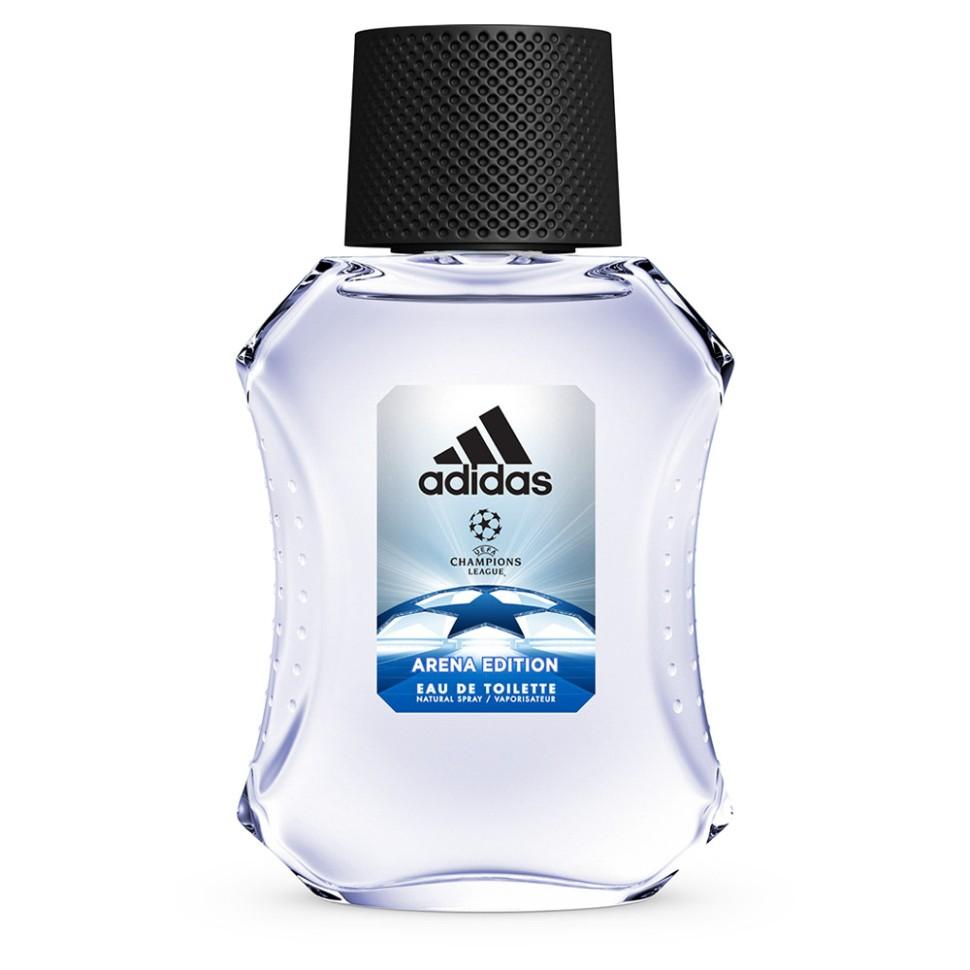 Adidas Arena Туалетная вода для мужчин 50 млAdidas<br>Мужественный и одновременно изысканный аромат создан для настоящих Чемпионов. Как только мяч попадает в игру, стадион охватывает возбуждение, словно передавая его энергетику, парфюм раскрывается свежими нотами бергамота, яблока и розмарина. Словно разгар матча, ноты сердца раскрываются утонченной смесью герани и жасмина, который сменяется острым кориандром, что придает звучанию мужественности. Чем ближе финал игры, тем сильнее накал страстей, что, как нельзя лучше, отражено в шлейфе звучанием бобов тонка, пачули и чувственного мускуса.<br>Состав:<br>Денатурат, вода, ароматизатор, этилгексил метоксициннамат, акрилаты/актилакриламид кополимер, бензофенон-3, этилгексил салицилат, бутил мотоксидибензолметан, цитраль, масло жожоба, BHT, CL60730, CL19140, CI 42090.<br><br>Вес г: 171<br>Бренд : Adidas<br>Объем мл: 50<br>Страна производитель : Испания<br>Вид Аромата : восточный фужерный<br>Шлейф : бобы тонка, пачули, мускус<br>Верхняя Нота : бергамот, зеленое яблоко, розмарин ЗЕЛЕНОЕ ЯБЛОКО<br>Верхняя Нота : бергамот, зеленое яблоко, розмарин ЗЕЛЕНОЕ ЯБЛОКО