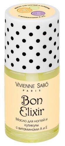 Vivienne Sabo масло для ногтей и кутикулы с витаминами А и Е Bon ElixirVivienne Sabo<br>Масло для ногтей идеально увлажняет и питает кожу и предотвращает появление заусенцев. А витамины способствуют укреплению ногтей и их росту. Рекомендуем для ежедневного использования! Тем более что понадобится всего пара минут. А на кончиках пальцев останется тонкий миндальный аромат.Советы по применению:Для восстановления ногтей наиболее эффективно наносить на ночь, втирая в ногтевую пластину, предварительно сняв маникюр. Для смягчения кутикулы и восстановления кожи вокруг ногтей, нанесите кисточкой на эти зоны, аккуратно втирайте подушечками пальцев. Рекомендуется использовать совместно с гелем для удаления кутикулы Bon Elixir<br><br>Вес г: 20<br>Бренд: Vivienne Sabo<br>Объем мл: 15<br>Страна производитель: Россия<br>Тип средства для ногтей: для кутикулы