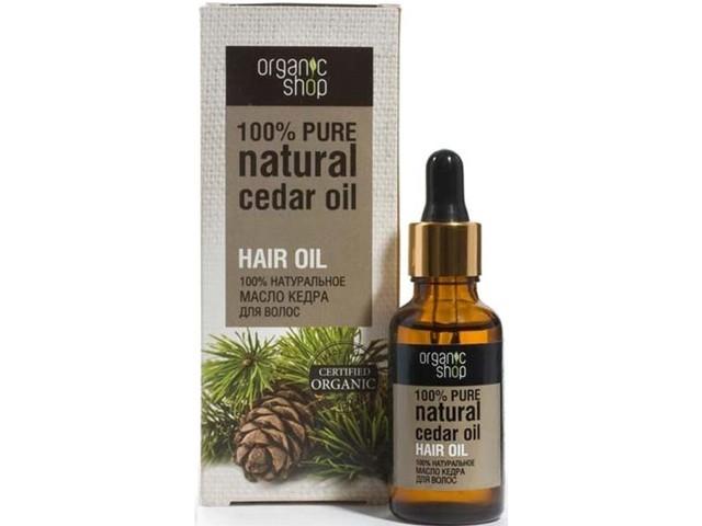 Organic shop Масло кедра для волосOrganic shop<br>Масло кедра для ухода за волосами. Подходит для всех типов волос. Масло кедра бережно и тщательно ухаживает за волосами, делая их более послушными, мягкими, блестящими. Восстанавливает структуру волос, укрепляет корни, разглаживает и выравнивает их поверхность, препятствует спутыванию, облегчает расчесывание и укладку. Содержит большое количество жирных кислот, белков, углеводов, витаминов А, В, Е, D, F, 14 аминокислот, 19 микроэлементов.Состав: 100% натуральное масло кедра. Способ применения: Подходит для ежедневного использования. В чистом виде: Небольшое количество масла нанести на корни волос. Втереть в кожу головы. Оставить на 15 минут. Смыть водой. Можно использовать в бане и сауне. В маске для волос: Смешать 3-5 капель масла с Вашей маской для волос. Нанести на волосы на несколько минут. Смыть водой.Условия и сроки хранения: Срок годности: см. на упаковке. Хранить в местах недоступных для детей. Не использовать после истечения срока годности.<br><br>Вес г: 50<br>Бренд : Organic shop<br>Объем мл: 30<br>Тип волос : все типы волос<br>Действие : питание, укрепление, восстановление, легкое расчесывание, блеск и эластичность, разглаживание<br>Тип средства для волос : масло<br>Страна производитель : Россия
