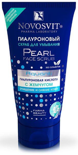 Novosvit гиалуроновый скраб для умывания с жемчугом 150 млNovosvit<br>Действие  — Обновляет кожу  — Восстанавливает упругость и гладкость  Эффективность  Гелевый скраб глубоко очищает поры кожи от загрязнений и макияжа. Содержит шлифующие микрогранулы,которые отшелушивают и удаляют отмершие клетки эпидермиса. Увлажняющий комплекс AQUANTI(Гиалуроновая кислота и коллаген) обеспечивает длительное увлажнение, способствует сохранению влаги в коже, разглаживает морщинки.  Природный экстракт жемчуга придает безупречное сияние, выравнивает тон кожи, улучшает цвет лица.   Способ применения  Нанести на влажную кожу, слегка массируя кончиками пальцев. Смыть большим количеством воды. Применять 1-2 раза в неделю. Подходит для всех типов кожи.  Объем - 150 мл<br><br>Вес г: 180<br>Бренд : Novosvit<br>Объем мл: 150<br>Тип кожи : все типы кожи<br>Страна производитель : Россия