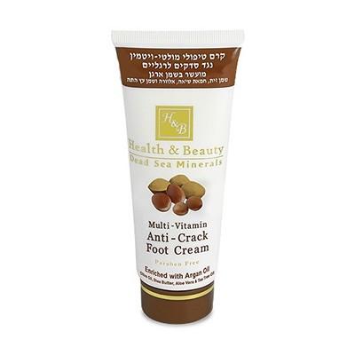 Health&amp;Beauty Крем для ног мультивитаминный от трещин с маслом АрганыHealth&amp;Beauty<br>Профессиональный крем, который защищает и увлажняет сухую и грубую кожу. Мультивитаминный крем для ног против трещин насыщен маслом Аргании, которое смягчает кожу и борется с сухостью, ранками и трещинами. В состав крема входит масло Чайного дерева, известное своей эффективностью против зуда и раздражения на ногах и ногтях. Экстракт Алоэ Вера расслабляет уставшие ноги, предотвращает неприятный запах, масло Ши питает кожу. Кроме этого крем содержит витамины А и Е и активные минералы Мёртвого моря, которые помогают восстановить сухую кожу. Это необходимый продукт для любого, кто носит закрытую обувь и долго находится на ногах.<br><br>Вес г: 150<br>Бренд: Health &amp; Beauty<br>Объем мл: 100<br>Страна производитель: Израиль