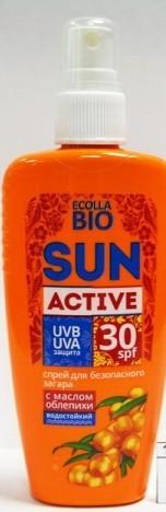 БИОКОН СОЛНЦЕ Ecolla-BIO SUN Activ спрей для безоп.загара SPF-30  120млБИОКОН<br><br><br>Вес г: 170<br>Бренд: Биокон<br>Объем мл: 120<br>Фактор SPF: 30<br>Тип средства: спрей<br>Назначение: для лица и тела<br>Страна производитель: Украина