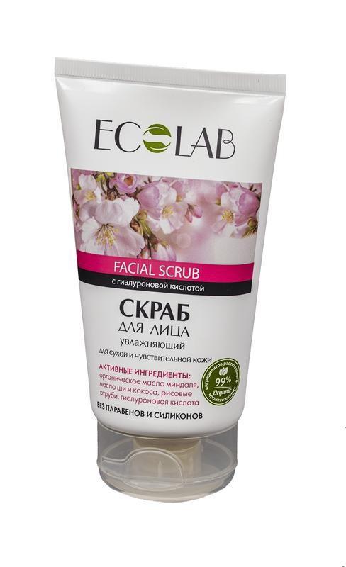 Ecolab Скраб для лица Увлажняющий для сухой и чувствительной кожиДля лица<br>Скраб для сухой чувствительной кожи лица Эколаб содержит 99% ингредиентов растительного происхождения.   Входящее в состав органическое масло миндаля наполняет кожу влагой, питает, тонизирует, смягчает и улучшает цвет лица, кожа становится гладкой и эластичной. Масло ши и кокоса увлажняют, питают и восстанавливают кожу, повышают общий тонус, упругость и эластичность. Рисовые отруби нежно отшелушивают кожу, способствуя ее обновлению. Гиалуроновая кислота является самым эффективным увлажняющим компонентом, способствует удержанию воды в тканях и значительно улучшает биодоступность активных ингредиентов.  Продукт не содержит парабенов и силиконов.Способ применения:Нанести небольшое количество скраба на влажную кожу лица массажными движениями, затем смыть теплой водой. Использовать 2-3 раза в неделю. Для наружного применения.<br><br>Вес г: 170<br>Бренд : Ecolab<br>Объем мл: 150<br>Тип кожи : сухая, чувствительная<br>Страна производитель : Россия