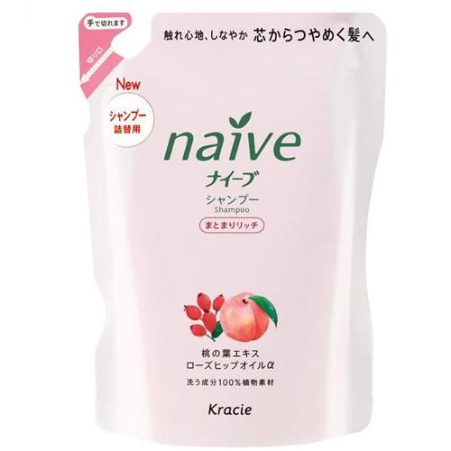 KANEBO NAIVE Шампунь ЗАПАСКА восстановливающий для сухих персик-шиповник 400млKANEBO<br>Мягкий шампунь восстанавливает повреждённые волосы, обеспечивает их необходимыми питательными и увлажняющими веществами. Благодаря моющим компонентам 100% растительного происхождения, шампунь не раздражает кожу головы, мягко моет волосы, придает им блеск и силу.• Гликозилтрегалоза (увлажняющее вещество аминокислотной группы) в сочетании с растительными экстрактами глубоко увлажняет волосы, предотвращая ломкость и секущиеся кончики.• Экстракт из листьев и мякоти плодов персикового дерева питает волосы, защищает от пересушивания, увлажняет и смягчает кожу головы.• Масло шиповника делает волосы блестящими и гладкими.<br><br>Вес г: 430<br>Бренд : Kanebo<br>Объем мл: 400<br>Тип волос : сухие<br>Действие : питание, восстановление, блеск и эластичность<br>Тип средства для волос : шампунь<br>Страна производитель : Япония