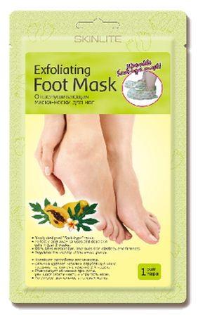 SKINLITE Отшелушивающая маска-носки для ногОтшелушивающая маска-носки для ног от SKINLITE.• Новейшая разработка маска-носки.• Отлично удаляет мозоли и огрубевшую кожу, трещины на стопах в течение 2х недель.• Стимулирует обменные процессы, улучшает эластичность и упругость кожи.• Регулирует деятельность потовых желез.1 параразмер: 35-40Skinlite отшелушивающая маска-носки для ног - это инновационный продукт, который сочетает в себе глубокий пилинг стоп и долговременный оздоравливающий эффект.Это эффективное средство для удаления мозолей, натоптышей и потрескавшейся кожи на стопах, предотвращающее огрубление кожи и образование новых трещин.Гликолевая и цитрусовая кислоты способствуют безболезненному и естественному удалению отмерших клеток.Натуральные экстракты папайи и яблока оказывают смягчающее, увлажняющее и восстанавливающее действие.Экстракт ромашки успокаивает кожу.Форма маски в виде носков делает процедуру простой и приятной.Уже через 7 дней кожа Ваших ног станет гладкой и нежной, как у младенца, а полученный результат сохранится на 2-3 месяца.Способ применения:1. Перед использованием помойте ноги теплой водой.2. Откройте упаковку и наденьте маску-носки.3. Через 90 минут снимите маску-носки. Остатки маски смойте теплой водой.4. Огрубевшая кожа начнет отслаиваться на 4-7 день после использования маски.Практически все оставшиеся натоптыши и мозоли сойдут в течение следующих 3-5 дней, в зависимости от их толщины. Не используйте дополнительные грубые механические средства для удаления мозолей, когда они начинают отслаиваться, дайте отмершей коже естественно сойти.5. После применения отшелушивающей маски рекомендуется регулярно использовать SKINLITE Интенсивно-восстанавливающую маску-носки для ног Абрикос.Если Вам нужен эффект пиллинга только на нижней части стопы (на подошве), смажьте любым жирным кремом кожу верхней части стопы перед тем как надеть носки.Меры предосторожности:1. Не использовать маску, если на ногах есть открытые раны, порезы, раздражения, экзема и