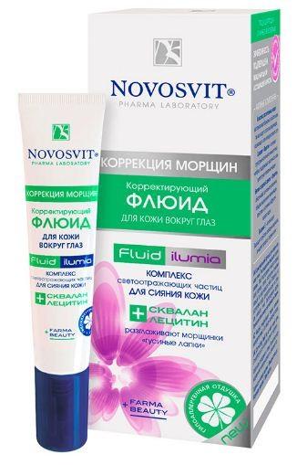 Novosvit корректирующий флюид для кожи вокруг глаз 15 млNovosvit<br>Корректирующий флюид для кожи вокруг глаз Разглаживание морщин «гусиные лапки» + Сияние кожи<br>Нежный и легкий флюид подходит даже для чувствительной кожи вокруг глаз.<br>Farmа-результат: смягчает кожу век, возвращает эластичность и разглаживает мелкие морщинки «гусиные лапки». Мгновенно стирает следы усталости, лицо выглядит отдохнувшим и помолодевшим.<br>Beauty-результат: придает великолепное сияние Вашей коже. Идеально подходит тем, у кого впереди напряженный и длинный день.<br><br>Вес г: 30<br>Бренд : Novosvit<br>Объем мл: 15<br>Консистенция маски : кремообразная<br>Часть лица : глаза<br>Вид средства для век : крем<br>По времени суток : дневной уход<br>Страна производитель : Россия