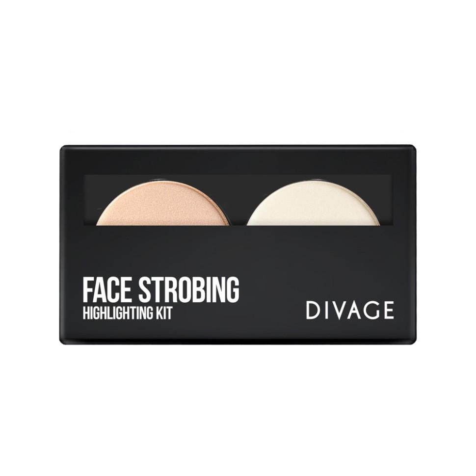 Divage Палетка Face strobingПалетка FACE STROBING станет незаменимым помощников в создании идеального образа. В палетку входят:  - хайлайтер для натурального деликатного сияния;  - прозрачная фиксирующая пудра  - для закрепления макияжа и предотвращения появления жирного блеска;<br>Мнение эксперта:<br>Нанеси хайлайтер на все выступающие участи на лице, используя мягкую веерную кисть.Белой транспорантной пудрой зафиксируй макияж в Т-зоне.Уникальная формула пудры подстраивается под оттенок любого тона кожи.<br>Состав:<br>Состав/Ingredients: Talc, Mica, Octyldodecyl Stearoyl Stearate, CI 77891, Synthetic Fluorphlogopite, Magnesium Stearate, Boron Nitride, Diisostearyl Malate, Methyl Methacrylate, Crosspolymer Hydrogenated Polyisobutene, Phenoxyethanol, Caprylyl Glycol, Benzyl Alcohol, Hexylene Glycol, CI 77491, CI 77492, Tin Oxide, CI 77499, Dehydroacetic Acid, CI 75470, Maltodextrin.<br><br>Вес г: 115<br>Бренд : Divage<br>Объем мл: 48<br>Эффект покрытия : сияние<br>Тип пудры : компактная, прозрачная<br>Страна производитель : Россия