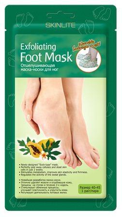 SKINLITE Отшелушивающая маска-носки для ног (Размер 40-45)Для тела<br>Отшелушивающая маска-носки для ног от SKINLITE.• Новейшая разработка маска-носки.• Отлично удаляет мозоли и огрубевшую кожу, трещины на стопах в течение 2х недель.• Стимулирует обменные процессы, улучшает эластичность и упругость кожи.• Регулирует деятельность потовых желез.1 параSkinlite отшелушивающая маска-носки для ног - это инновационный продукт, который сочетает в себе глубокий пилинг стоп и долговременный оздоравливающий эффект.Это эффективное средство для удаления мозолей, натоптышей и потрескавшейся кожи на стопах, предотвращающее огрубление кожи и образование новых трещин.Гликолевая и цитрусовая кислоты способствуют безболезненному и естественному удалению отмерших клеток.Натуральные экстракты папайи и яблока оказывают смягчающее, увлажняющее и восстанавливающее действие.Экстракт ромашки успокаивает кожу.Форма маски в виде носков делает процедуру простой и приятной.Уже через 7 дней кожа Ваших ног станет гладкой и нежной, как у младенца, а полученный результат сохранится на 2-3 месяца.Универсальный размер - 40-45Способ применения:1. Перед использованием помойте ноги теплой водой.2. Откройте упаковку и наденьте маску-носки.3. Через 90-120 минут снимите маску-носки. Остатки маски смойте теплой водой.4. Огрубевшая кожа начнет отслаиваться на 4-7 день после использования маски.Практически все оставшиеся натоптыши и мозоли сойдут в течение следующих 3-5 дней, в зависимости от их толщины. Не используйте дополнительные грубые механические средства для удаления мозолей, когда они начинают отслаиваться, дайте отмершей коже естественно сойти.5. После применения отшелушивающей маски рекомендуется регулярно использовать SKINLITE Интенсивно-восстанавливающую маску-носки для ног Абрикос.<br><br>Вес г: 10<br>Бренд : Skinlite<br>Страна производитель : Корея