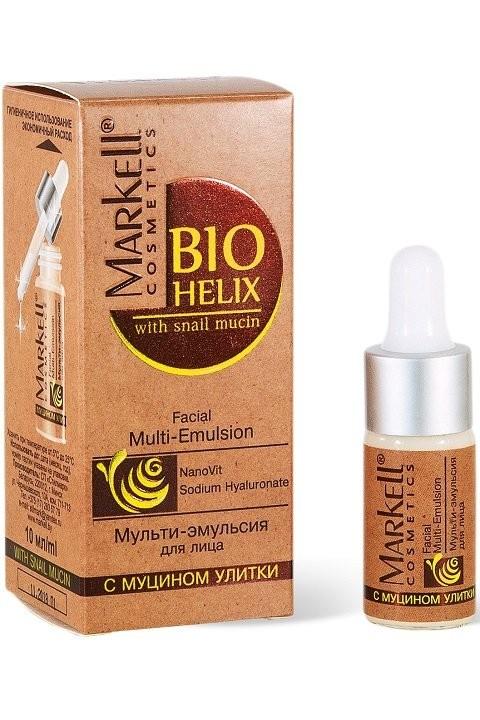 Markell Мульти-Эмульсия для лицаMarkell<br>Мульти-эмульсия предназначена для интенсивного ухода за кожей лица и шеи. Муцин улитки регенерирует и обновляет кожу, устраняет покраснения и шелушение. Гиалуронат натрия интенсивно увлажняет, создавая на поверхности кожи защитную пленку. NanoVit -- уникальная наноэмульсия облепихового масла с высоким содержанием ненасыщенных жирных кислот - способствует регенерации кожи, защищает кожу от негативного влияния УФ-излучения, обеспечивает коже здоровый внешний вид.В зависимости от потребностей кожи мульти-эмульсию можно использовать самостоятельно и как дополнительное средство под крем для усиления его эффекта. При самостоятельном применении эмульсия обеспечит Вашей коже необходимое питание и антиоксидантную защиту, не оставляя при этом ни намека на жирность и липкость, так как обладает очень легкой текстурой и моментальной впитываемостью.Применение: наносить ежедневно утром и вечером на чистую кожу лица и шеи легкими массирующими движениями.<br><br>Вес г: 15<br>Бренд : Markell<br>Объем мл: 10<br>Тип кожи : все типы кожи<br>Консистенция : сыворотка/эмульсия<br>Тип крема : увлажняющий, питательный, солнцезащитный<br>Возраст : до 25, 25+, 30+, 35+, 40+<br>По времени суток : дневной уход, ночной уход<br>Страна производитель : Белоруссия
