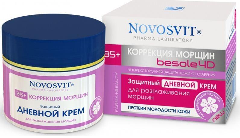 Novosvit защитный дневной крем для разглаживания морщин 35+ 50 млNovosvit<br>Защитный дневной крем для разглаживания морщинЗащищает кожу от старения, разглаживает мелкие морщины, повышает уровень увлажнения<br>Легкий дневной крем, содержащий природные UV-фильтры. Обеспечивает ежедневную защиту Вашей кожи от неблагоприятного воздействия окружающей среды, ультрафиолетовых лучей и свободных радикалов.<br>Farmа-результат: Координирует влагу на коже, усиливает естественные защитные механизмы кожи. Повышается уровень увлажнения с помощью бетаина сахарной свеклы. Драгодерм® (протеины пшеницы) выравнивает микрорельеф кожи и маскирует мелкие морщины.<br>Beauty-результат: кожа приобретает текстуру и плотность молодой кожи. Морщины разглаживаются, контур лица становится более четким.<br><br>Вес г: 80<br>Бренд : Novosvit<br>Объем мл: 50<br>Тип кожи : все типы кожи<br>Консистенция : крем<br>Тип крема : увлажняющий, антивозрастной, солнцезащитный<br>Возраст : 35+<br>Эффект : сокращает морщины<br>По времени суток : дневной уход<br>Страна производитель : Россия