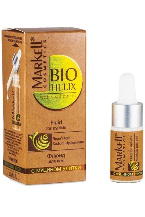Markell Флюид для век с муцином улиткиMarkell<br>Эффективный уход за нежной кожей вокруг глаз с уникальными компонентами. Обеспечивает быструю регенерацию и обновление клеток кожи, предотвращает возрастные изменения, интенсивно увлажняет, создавая на поверхности нечной кожи век защитную пленку. Значительно сокращает темные круги под глазами и уменьшает отечность.Применение: наносить ежедневно утром и вечером на чистую кожу вокруг глаз легкими похлопывающими движениями.<br><br>Вес г: 15<br>Бренд : Markell<br>Объем мл: 10<br>Консистенция маски : кремообразная<br>Часть лица : глаза<br>Вид средства для век : крем<br>Страна производитель : Белоруссия
