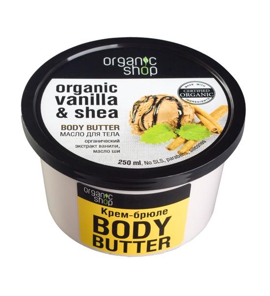 Organic shop Масло для тела Крем-брюлеOrganic shop<br>Волшебное сочетание органического экстракта ванили и масла ши придаст вашей коже удивительную нежность и соблазнительный аромат.ПРИМЕНЕНИЕ: Нанести на чистую сухую кожу легкими массирующими движениями.Объем: 250 мл.<br><br>Вес г: 350<br>Бренд: Organic shop<br>Объем мл: 250<br>Страна производитель: Россия