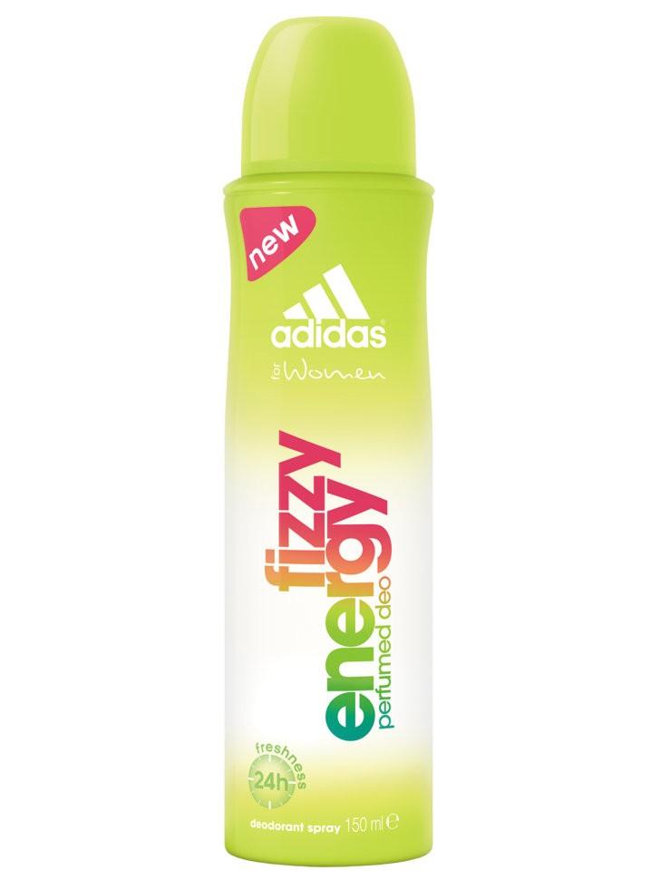 ADIDAS Део-спрей для женщин Fizzy EnergyAdidas<br>Дезодорант от Adidas с ароматом Fizzy Energy создан для динамичных, активных и жизнерадостных девушек.<br> Аромат словно светится солнечными лучиками, заряжая вас и окружающих светом, радостью и энергией.езодорант спрей Adidas Fizzy Energy с цветочно-фруктовым ароматом обеспечивает защиту от запаха пота на 24 часа. Охлаждающий комплекс с ментолом Cool Tech активирует экстра охлаждение каждый раз, когда это необходимо, чем интенсивнее физическая нагрузка, тем интенсивнее работает комплекс.<br>Состав:<br>Бутан, изобутан, циклопентасилоксанин, хлорогидрат алюминия, С12-15 алкил бензоат, смола цезальпинии спинозы, гидрированный полидесин, парфюм, сорбитан сескуолеат, дистеардимониум гекторит, стеарат сахарозы, бензил салицилат, диоксид кремния, хлопковый порошок.<br><br>Вес г: 200<br>Бренд : Adidas<br>Объем мл: 150<br>Тип дезодоранта : спрей<br>Страна производитель : Испания