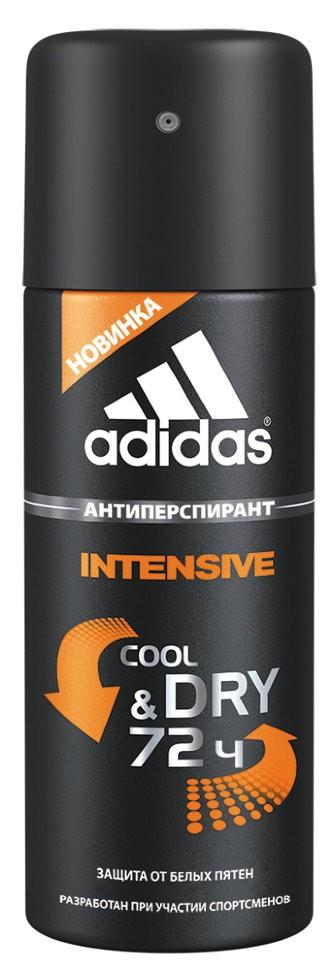 Adidas Део-спрей антиперспирант для мужчин Cool&amp;Dry IntensiveAdidas<br>Новая формула Cool &amp;amp; Dry - это уникальная абсорбирующая технология adidas для защиты от пота, разработанная с учетом потребностей мужчин. Формула гарантирует: надежную защиту от 48 до 72 часов, заряд свежести при нанесении благодаря уникальной технологии, состоящей из 4 парфюмерных компонентов, действие х4* (свежесть - сухость - защита - поглощение влаги).Инновационная формула роликов содержит комплекс ухаживающих компонентов и обеспечивет до 85% более быстрое и комфортное нанесение на поверхность кожи.Меры предосторожности: Оберегайте от действия прямых солнечных лучей. Не распыляйте вблизи открытого огня и раскалены предметов. Баллон под давлением! Не разбирайте и не давайте детям. Использование в пищевых целях опасно для жизни и здоровья. Опасно при попадании в дыхательные пути. Использовать только в хорошо проветриваемых помещениях. Избегать длительного распыления. <br>  Срок годности: 4 года<br>Butane-isobutane-propane, aluminum chlorohydrate, cyclopentasiloxane, c12-15 alkyl benzoate, parfum, disteardimonium hectorite, dimethicone, caesalpina spinosa gum, hydrogenated polydecene, sorbitan sesquioleate, benzyl salicylate, sucrose stearate, hexyl cinnamal, butylphenyl methylpropional, limonene, silica, hydroxyisohexyl 3-cyclohexene carboxaldehide, coumarin, geraniol, citronellol, gossypium herbaceum powder, bh<br><br>Вес г: 200<br>Бренд : Adidas<br>Объем мл: 150<br>Тип дезодоранта : спрей<br>Страна производитель : Португалия