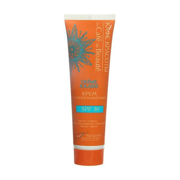 Кафе Красоты СОЛНЦЕ Крем Солнцезащитный SPF30 100млКафе красоты<br>Крем SPF 30 с нежнои текстурои обеспечит надежную защиту от солнца, увлажнит и смягчит Вашу кожу во время пребывания на солнце. Масло кокоса глубоко питает и увлажняет кожу, стимулирует процессы регенерации, помогает удерживать оптимальныи баланс влаги в клетках. Масло зародышеи пшеницы прекрасно смягчает кожу, делая ее нежнои и бархатистои. Масло манго помогает защитить кожу от солнечных лучеи, а также облагает мощным увлажняющим своиством.Состав INCI: Aqua, Cocos Nucifera (Cocos) Butter (масло Кокоса), <br>Titanium Dioxide (Nano) and Aluminia and Stearic Acid, Cetearyl Alcohol,<br> Caprylic/capric triglycerides, Glyceryl Monostearate, Glycerin, <br>Mangifera (Mango) Oil (масло Манго), Butyrospermum Parkii (Shea) Butter <br>(масло Ши), Triticum Vulgare (Wheat Germ) Oil (масло зародышеи <br>Пшеницы), Octocrylene, Butyl Methoxydibenzoylmethane, D-panthenol <br>(Провитамин В5), Allantoin, Xanthan Gum, Parfum , Citric Acid, Benzoic <br>Acid, Sorbic Acid, Dehydroacetic Acid, Benzyl alcohol.<br>Способ применения: перед применением тщательно взболтаите. Наносите крем за 10-15 минут до выхода под солнечные лучи. Повторяите нанесение каждые 1,5-2 часа и сразу после купания. Наносите на все участки кожи, включая лицо, область ушеи, кисти рук и стопы. Для наружного применения. Меры предосторожности: при попадании в глаза обильно смоите водои. Длительное пребывание на солнце опасно, даже если Вы используете солнцезащитное средство, т.к. оно не обеспечивает 100% защиту. Не рекомендуется пребывание на солнце в часы максимальнои солнечнои активности.<br><br>Вес г: 150<br>Бренд: Кафе Красоты<br>Объем мл: 100<br>Фактор SPF: 30<br>Тип средства: крем<br>Назначение: для лица и тела<br>Страна производитель: Россия