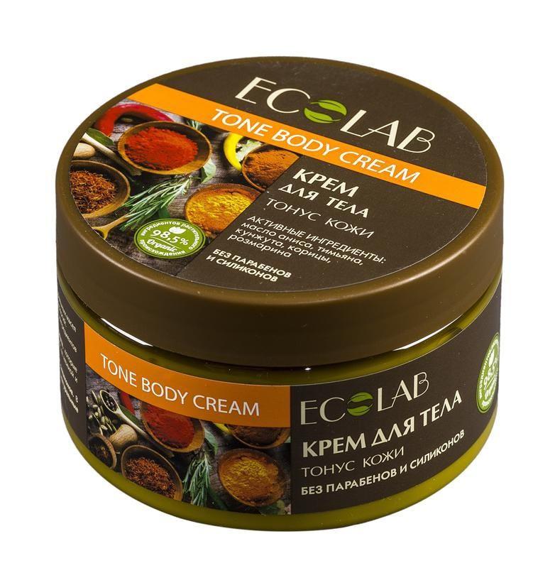 Ecolab Крем для тела Гладкость и тонусДля тела<br>Крем для тела Эколаб содержит более 98% ингредиентов растительного происхождения. В состав входят масло ши и масло кунжута, которые питают увлажняют и смягчают кожу, делают ее нежной и гладкой. Продукт не содержит парабенов и силиконов.Органическое масло розмарина обладает антисептическим действием, стимулирует обменные процессы в клетках.<br><br>Вес г: 300<br>Бренд : Ecolab<br>Объем мл: 250<br>Страна производитель : Россия