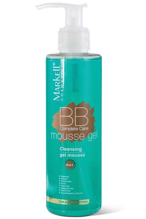 Markell Complete BB-гель-мусс для умыванияMarkell<br>Воздушный гель-мусс для умывания нежно удаляет с кожи лица и век макияж и другие загрязнения, придает ощущение свежести и комфорта. Гель-мусс придает коже гладкость, ровность, мягкость, улучшает внешний вид кожи. Снимает раздражение кожи, идеален для ежедневного применения и не содержит мыла. Ваша кожа полна жизненной энергии и сияет здоровьем!-без мыла-без красителей-без лауретсульфата натрия-гипоаллергенная отдушкаПрименение: нанести гель-мусс на влажную кожу, слегка массируя, затем смыть водой.<br><br>Вес г: 250<br>Бренд : Markell<br>Объем мл: 200<br>Тип кожи : все типы кожи<br>Вид очищающего средства : гель, мусс<br>Страна производитель : Белоруссия