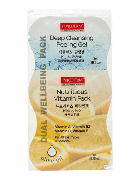 PUREDERM Маска+пилинг витаминизированнаяМаски для лица<br>2в1: Пилинг гель для глубокого очищения «Пьюадерм» (3 мл) и Питательная маска с витаминами (7мл). Средство 2 в 1. Содержит Витамины А, ВЗ, С, Е и Масло Оливы. Для всех типов кожи.Пилинг гель для глубокого очищения— глубоко очищает поры, мягко отшелушивает мертвые клетки кожи, делая кожу лица чистой и свежейПитательная маска с витаминами – смываемая маска, обогащенная витаминами А, ВЗ, С и Е обеспечивает кожу основными питательными элементами, делая ее мягкой, гладкой и здоровой.<br><br>Вес г: 15<br>Бренд: Purederm<br>Объем мл: 10<br>Тип кожи: все типы кожи<br>Консистенция маски: кремообразная<br>Часть лица: лицо<br>По времени суток: дневной уход<br>Назначение маски: увлажняющая, питательная, очищающая<br>Страна производитель: Южная Корея