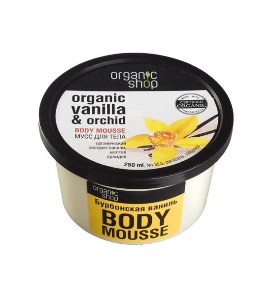 Organic shop Мусс для тела Бурбонская ванильOrganic shop<br>Восхитительно нежный мусс для тела на основе органического экстракта ванили и желтой орхидеи, моментально увлажняет кожу, придавая ей мягкость,упругость и здоровое сияние.ПРИМЕНЕНИЕ: Нанести на чистую сухую кожу легкими массирующими движениями.Объем: 250 мл.<br><br>Вес г: 350<br>Бренд : Organic shop<br>Объем мл: 250<br>Страна производитель : Россия