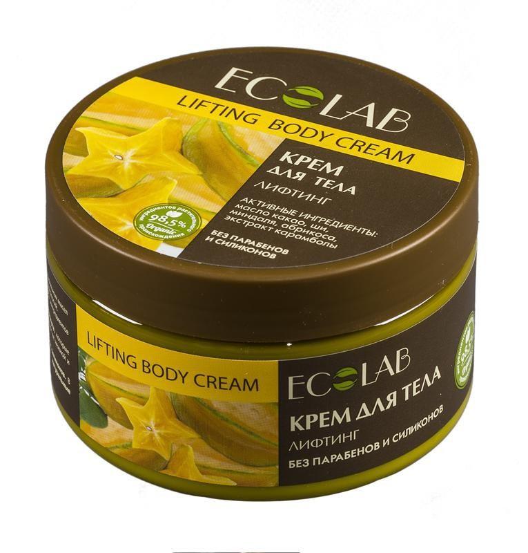 Ecolab Крем для тела ЛифтингДля тела<br>Лифтинг крем для тела крем для тела Эколаб содержит более 98% ингредиентов растительного происхождения. В состав входят масло ши и масло кунжута, которые питают увлажняют и смягчают кожу, делают ее нежной и гладкой. Продукт не содержит парабенов и силиконов.Органическое масло миндаля<br>Способствует хорошему увлажнению и смягчению кожи, устраняет сухость и шелушение, освежает и тонизирует кожу.<br>Органическое масло какао<br>Натуральное какао масло помогает справиться с уставшим и серым цветом лица, и может беспроблемно использоваться в е даже за самой чувствительной кожей.<br><br>Вес г: 300<br>Бренд : Ecolab<br>Объем мл: 250<br>Страна производитель : Россия
