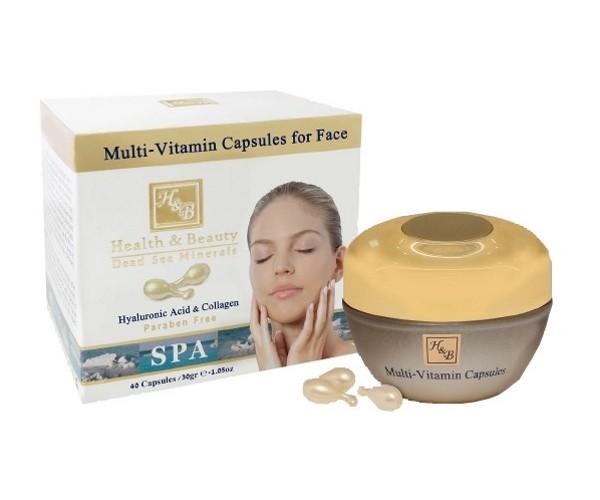 Health&amp;Beauty Капсулы мультивитаминные для лицаHealth&amp;Beauty<br>Мультивитаминные капсулы предназначены для интенсивного омолаживающего ухода, в котором нуждается зрелая кожа. Уникальная иновационная формула включает в себя активные компоненты, максимально эффективно воздействующие на выработку коллагена. Капсулы активно борются с процессами старения, придают коже естественные румянец, способствуют восстановлению водного баланса кожи и эластичности.<br><br>Вес г: 70<br>Бренд : Health &amp; Beauty<br>Тип кожи : все типы кожи<br>Консистенция : капсулы<br>Тип крема : антивозрастной, укрепляющий<br>Возраст : 35+, 40+, 45+, 50+<br>Эффект : эластичность, сокращает морщины<br>По времени суток : дневной уход<br>Страна производитель : Израиль