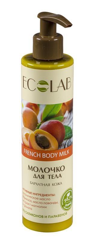 Ecolab Молочко для тела Бархатная кожаДля тела<br>Молочко для тела Эколаб содержит более 98% ингредиентов растительного происхождения. Входящие в состав органическое масло абрикоса и экстракт граната питают, увлажняют кожу, а так же стимулируют синтез коллагена и эластина, что предотвращает кожу от потери ее упругости и эластичности.Масло лаванды<br>Получают из цветов путем паровой дистилляции, растение родом из Европы. Состав лаванды насыщен полезными веществами, она содержит более 300 органических соединений.<br><br>Вес г: 300<br>Бренд: Ecolab<br>Объем мл: 250<br>Страна производитель: Россия