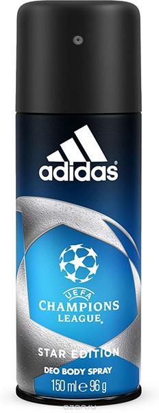 Adidas Део-спрей антиперспирант для мужчин UEFA IIAdidas<br>Дезодорант-спрей Adidas UEFA Champions League Star с интенсивным цитрусовым древесным ароматом обеспечивает защиту от запаха пота на 24 часа. Охлаждающий комплекс с ментолом Cool Tech активирует экстраохлаждение каждый раз, когда это необходимо, чем интенсивнее физическая нагрузка, тем интенсивнее работает комплекс<br><br>Вес г: 200<br>Бренд : Adidas<br>Объем мл: 150<br>Страна производитель : Польша
