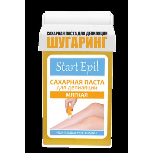 Start Epil Сахарная паста Мягкая в КАРТРИДЖЕ 100грStart Epil<br>Сахарная паста мягкой консистенции для бандажной техники депиляции. Оптимальна для работы на больших поверхностях. Специальный картридж, предназначенный именно для шугаринга, наносит пасту тонким ровным слоем, позволяя провести депиляцию максимально быстро и экономично. Не вызывает аллергии и раздражения. Подходит для всех типов волос. Сахарная паста не травмирует живые клетки кожи, деликатно удаляя волосы 2-5 мм. Волосы становятся более тонкими и ослабленными. Диаметр уменьшается на 50%. Последующие процедуры депиляции становятся менее болезненными и понадобятся все реже и реже.<br>Способ применения:разогреть пасту в микроволновой печи. Обезжирить кожу с помощью лосьона или тоника. Нанести тальк на зону депиляции. Нанести сахарную пасту роликом на небольшой участок кожи по направлению против роста волос. Приложить на нанесенную дорожку сахарной пасты бандаж, прижать для боле крепкого сцепления. Зафиксировать кожу рукой там, откуда начнется срыв. Срыв бандажа проводить резким движением, строго параллельно коже по направлению роста волос. Удалить остатки сахарной пасты термальной водой. Завершить процедуру средствами для ухода за кожей. Эффект длится до 4 недель.<br>Примечание:оптимальная температура сахарной пасты для работы 37-40 °C. Для повышения эффективности проведения процедуры депиляции на всех этапах рекомендуется использовать линейку средств «Start Epil».<br>Гипоаллергенный продукт.<br><br>Вес г: 150<br>Бренд: Start Epil<br>Объем мл: 100
