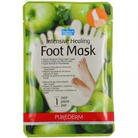 PUREDERM Маска интенсивно-восстанавливающая для ногPurederm<br>Интенсивная маска в форме носочков, восстанавливает сухую и огрубевшую кожу ног. Входящие в состав смягчающее масло Ши, экстракт яблока и перечная мята, а также другие восстанавливающие компоненты разглаживают, смягчают и восстанавливают сухую, потрескавшуюся кожу ступней и пяток, интенсивно улучшая их внешний вид. Маска для ног увлажняет и заживляет поврежденные участки кожи, интенсивно и ухаживает за огрубевшей и мозолистой кожей ног и пяток. Система 2 в 1 маска и носочки усиливает глубину проникновения компонентов за счет термоэффекта, что позволяет достичь наилучшего результата.<br><br>Вес г: 20<br>Бренд: Purederm<br>Страна производитель: Корея