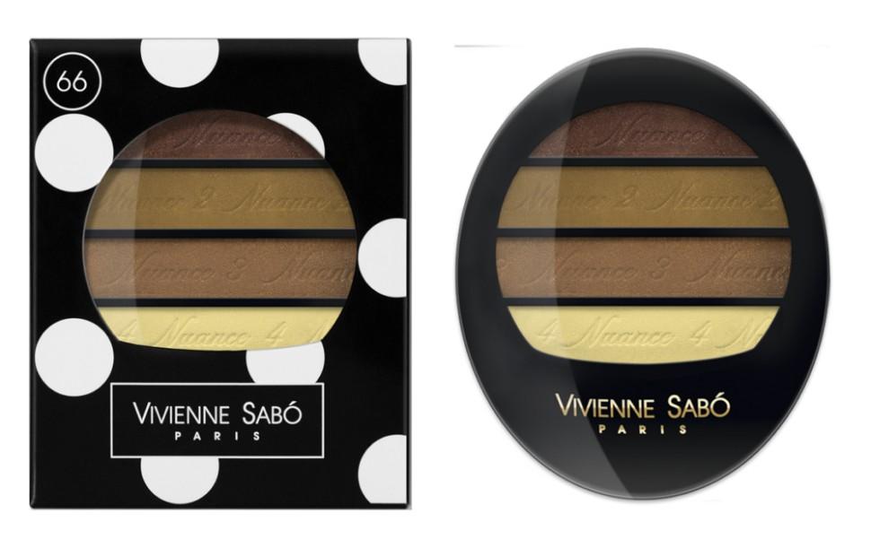 Vivienne Sabo тени для век Квартет Quatre Nuances (66 коричневая гамма)Vivienne Sabo<br>Тени для век Vivienne Sabo Quatre Nuances — четыре нюанса ультра модных гармонично сочетающихся между собой оттенков воодушевят на создание самых незабываемых образов и вдохновят на творчество! Играя многообразием текстур, легко подчеркнуть красоту глаз! С Quatre nuances — стань профессионалом!  Свойства:  - На каждом оттенке и на упаковке — пошаговая инструкция для профессионального макияжа  - Квартет теней с нежнейшей, ласковой текстурой и великолепной цветопередачей, мягко растушёвываются, цвета сливаясь, создают задуманный Вами эффект  Способ применения:  Для того чтобы усилить яркость глаз, используйте контрастные с цветом глаз оттенки теней и наносите их на фиксирующую базу Fixateur  Можно комбинировать два, три или четыре оттенка. Нанести аппликатором, кистью или подушечками пальцев<br><br>Вес г: 30<br>Бренд : Vivienne Sabo<br>В комплекте : зеркальце<br>Способ нанесения : влажный<br>Эффект на веках : сатиновый<br>Тип теней : палитра теней<br>Страна производитель : Швейцария