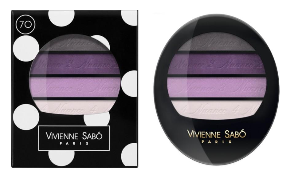 Vivienne Sabo тени для век Квартет Quatre Nuances (70 серо-сиреневые)Vivienne Sabo<br>Тени для век Vivienne Sabo Quatre Nuances — четыре нюанса ультра модных гармонично сочетающихся между собой оттенков воодушевят на создание самых незабываемых образов и вдохновят на творчество! Играя многообразием текстур, легко подчеркнуть красоту глаз! С Quatre nuances — стань профессионалом!  Свойства:  - На каждом оттенке и на упаковке — пошаговая инструкция для профессионального макияжа  - Квартет теней с нежнейшей, ласковой текстурой и великолепной цветопередачей, мягко растушёвываются, цвета сливаясь, создают задуманный Вами эффект  Способ применения:  Для того чтобы усилить яркость глаз, используйте контрастные с цветом глаз оттенки теней и наносите их на фиксирующую базу Fixateur  Можно комбинировать два, три или четыре оттенка. Нанести аппликатором, кистью или подушечками пальцев<br><br>Вес г: 30<br>Бренд: Vivienne Sabo<br>В комплекте: зеркальце<br>Способ нанесения: влажный<br>Эффект на веках: сатиновый<br>Тип теней: палитра теней<br>Страна производитель: Швейцария