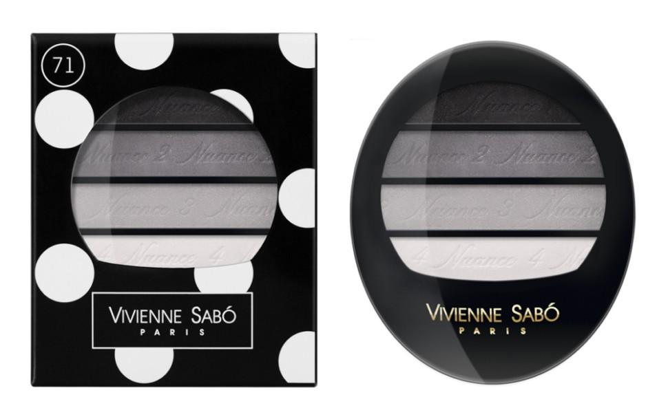 Vivienne Sabo тени для век Квартет Quatre Nuances (71 серая гамма)Vivienne Sabo<br>Тени для век Vivienne Sabo Quatre Nuances — четыре нюанса ультра модных гармонично сочетающихся между собой оттенков воодушевят на создание самых незабываемых образов и вдохновят на творчество! Играя многообразием текстур, легко подчеркнуть красоту глаз! С Quatre nuances — стань профессионалом!  Свойства:  - На каждом оттенке и на упаковке — пошаговая инструкция для профессионального макияжа  - Квартет теней с нежнейшей, ласковой текстурой и великолепной цветопередачей, мягко растушёвываются, цвета сливаясь, создают задуманный Вами эффект  Способ применения:  Для того чтобы усилить яркость глаз, используйте контрастные с цветом глаз оттенки теней и наносите их на фиксирующую базу Fixateur  Можно комбинировать два, три или четыре оттенка. Нанести аппликатором, кистью или подушечками пальцев<br><br>Вес г: 30<br>Бренд: Vivienne Sabo<br>В комплекте: зеркальце<br>Способ нанесения: влажный<br>Эффект на веках: сатиновый<br>Тип теней: палитра теней<br>Страна производитель: Швейцария