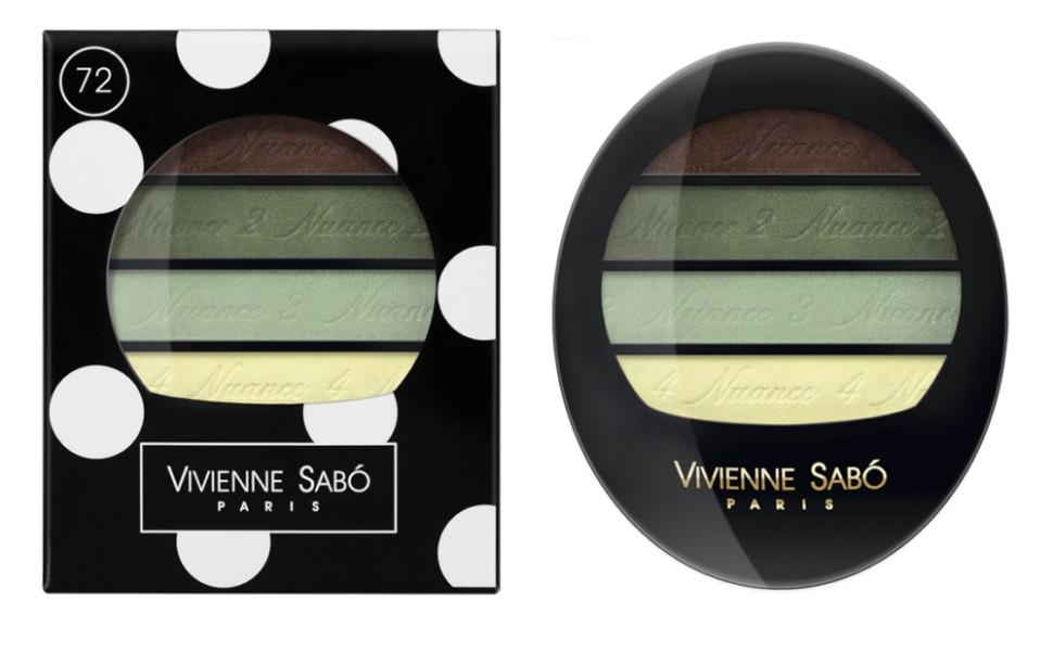 Vivienne Sabo тени для век Квартет Quatre Nuances (72 зеленая гамма)Vivienne Sabo<br>Тени для век Vivienne Sabo Quatre Nuances — четыре нюанса ультра модных гармонично сочетающихся между собой оттенков воодушевят на создание самых незабываемых образов и вдохновят на творчество! Играя многообразием текстур, легко подчеркнуть красоту глаз! С Quatre nuances — стань профессионалом!  Свойства:  - На каждом оттенке и на упаковке — пошаговая инструкция для профессионального макияжа  - Квартет теней с нежнейшей, ласковой текстурой и великолепной цветопередачей, мягко растушёвываются, цвета сливаясь, создают задуманный Вами эффект  Способ применения:  Для того чтобы усилить яркость глаз, используйте контрастные с цветом глаз оттенки теней и наносите их на фиксирующую базу Fixateur  Можно комбинировать два, три или четыре оттенка. Нанести аппликатором, кистью или подушечками пальцев<br><br>Вес г: 30<br>Бренд : Vivienne Sabo<br>В комплекте : аппликатор<br>Способ нанесения : сухой<br>Эффект на веках : матовый<br>Тип теней : компактные<br>Страна производитель : Швейцария