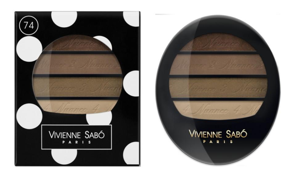Vivienne Sabo тени для век Квартет Quatre Nuances (74 бежево-коричневые)Vivienne Sabo<br>Тени для век Vivienne Sabo Quatre Nuances — четыре нюанса ультра модных гармонично сочетающихся между собой оттенков воодушевят на создание самых незабываемых образов и вдохновят на творчество! Играя многообразием текстур, легко подчеркнуть красоту глаз! С Quatre nuances — стань профессионалом!  Свойства:  - На каждом оттенке и на упаковке — пошаговая инструкция для профессионального макияжа  - Квартет теней с нежнейшей, ласковой текстурой и великолепной цветопередачей, мягко растушёвываются, цвета сливаясь, создают задуманный Вами эффект  Способ применения:  Для того чтобы усилить яркость глаз, используйте контрастные с цветом глаз оттенки теней и наносите их на фиксирующую базу Fixateur  Можно комбинировать два, три или четыре оттенка. Нанести аппликатором, кистью или подушечками пальцев<br><br>Вес г: 30<br>Бренд : Vivienne Sabo<br>В комплекте : зеркальце<br>Способ нанесения : влажный<br>Эффект на веках : сатиновый<br>Тип теней : палитра теней<br>Страна производитель : Швейцария