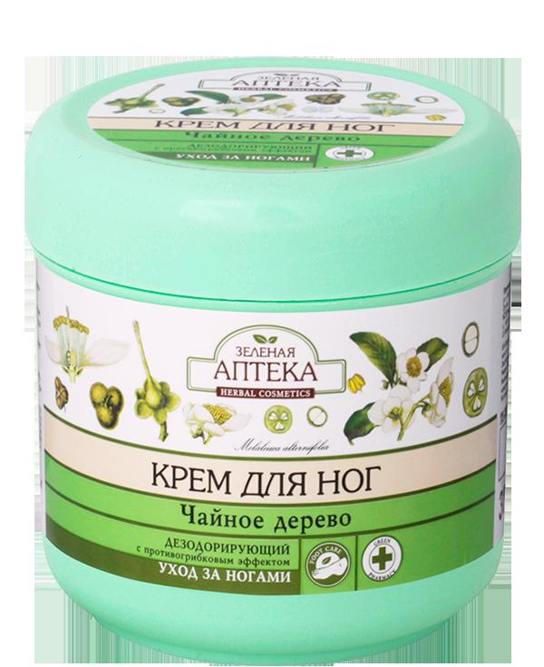Эльфа Крем для ног Дезодорирующий с противогрибковым эффектомЭльфа<br>Чайное дерево <br>Крем с легким приятным запахом эффективно дезодорирует и охлаждает кожу ног. Обладает выраженным противовоспалительным и антимикробным действием, препятствует интенсивному потоотделению и способствует уничтожению грибков. Смягчает кожу и делает ее эластичной. <br>Рекомендации по применению: повышенная потливость стоп, профилактика грибковых заболеваний. <br>Способ применения: нанести на чистую кожу ступней и мягко вмассировать. Для достижения максимального эффекта рекомендуется применять с антиперспирантом для ног с тальком ТМ «Зеленая аптека». <br>Состав (INCI): Aqua, Paraffinum Liquidum, Stearic Acid, Glycerides, Kaolin, Hexamethylentetraminum, Cetearyl Alcohol,  Lavandula Angustifolia Herb Extract, Chelidonium Majus Extract, Quercus Alba Bark Extract, Menthol, Camphor, Melaleuca Alternifolia Leaf Oil, Sodium Polymethacrylate, Hydrogenated Polydecene, Trideceth-6, Sodium Hydroxide, Parfum,  Phenoxyethanol, Methylparaben, Ethylparaben, Propylparaben, Butylparaben,  Hexyl Cinnamal, Citronellol, Limonene, Hydroxicitronellal, Benzyl Salicylate, Hydroxymethylpentylcyclohexenecarboxoldehyde. <br>Объем: 300 мл<br><br>Вес г: 350<br>Бренд : Эльфа<br>Объем мл: 300<br>Страна производитель : Украина