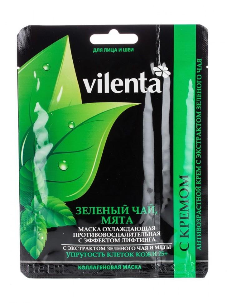 VILENTA Маска тканевая плацентарная Зеленый чай и мята+охлаждающаяи противовосполительная с эффектом лифтинга 25+Vilenta<br>Входящие в состав маски мята, и экстракт зеленого чая помогут решить многие проблемы жирной кожи, нормализуя активность сальных желез, снимая раздражение и покраснения, оказывает противовоспалительное действие, освежает и устраняет ощущение жирной тяжести, разбудят кожу, окажут на нее тонизирующее воздействие, обеспечат ощущение утренней легкости, свежий вид и здоровый румянец.<br><br>Вес г: 50<br>Бренд : Vilenta<br>Объем мл: 40<br>Тип кожи : чувствительная<br>Консистенция маски : тканевая<br>Часть лица : лицо<br>По времени суток : дневной уход<br>Назначение маски : матирующая<br>Страна производитель : Китай