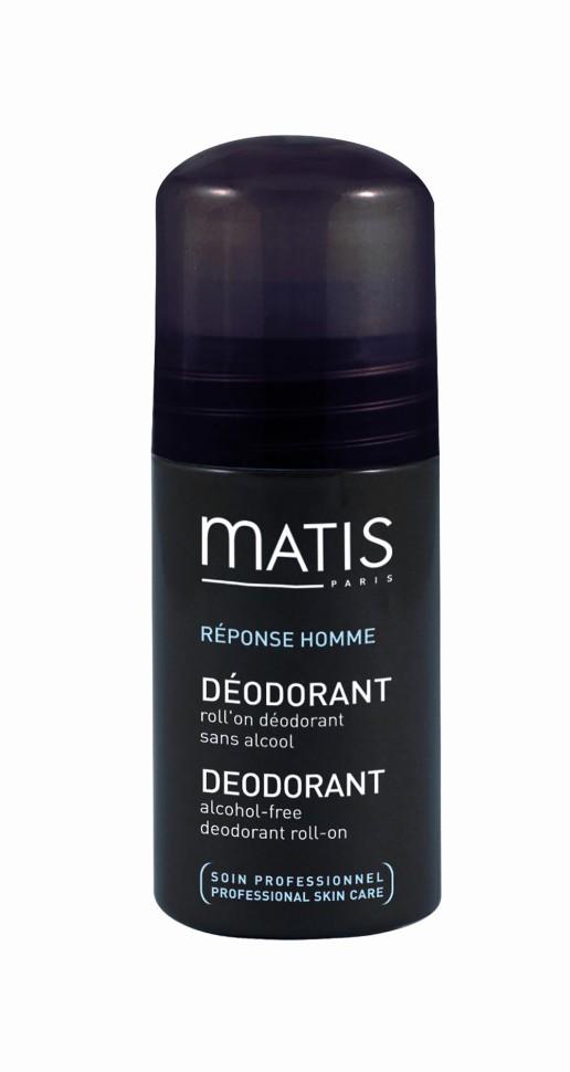 Matis Мужская линия Шариковый дезодорант 50 млMatis<br>Шариковый дезодорант без спирта обеспечивает надёжную защиту и свежесть на весь день.<br>Способ применения:<br>Наносить на сухую чистую кожу.<br>Особенности состава:<br>Хлоргидрат алюминия<br>Состав:<br>AQUA (WATER), ALUMINUM CHLOROHYDRATE, PROPYLENE GLYCOL, ALLANTOIN, HYDROXYETHYLCELLULOSE, PEG-40 HYDROGENATED CASTOR OIL, PHENOXYETHANOL, PPG-26-BUTETH-26, PARFUM (FRAGRANCE), LIMONENE.<br><br>Вес г: 110<br>Бренд : Matis<br>Объем мл: 50<br>Тип дезодоранта : шариковый<br>Возраст : 18+<br>Страна производитель : Франция