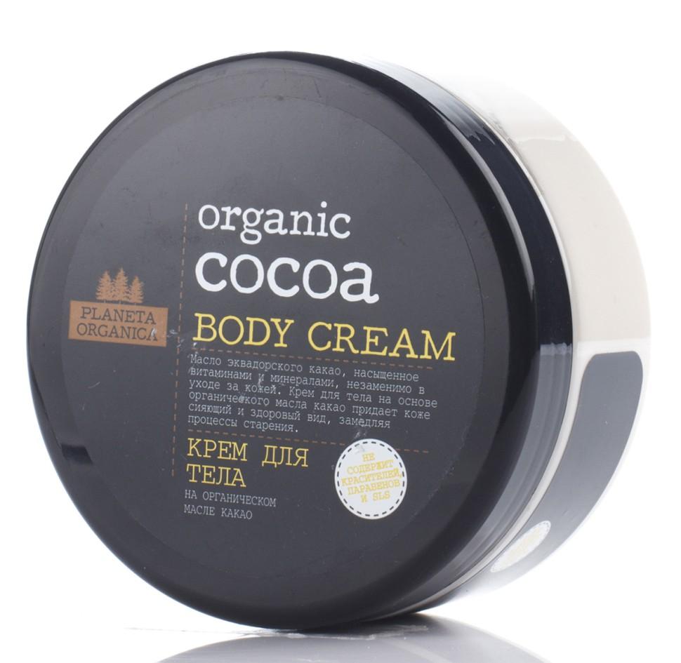 Planeta Organica Крем для тела Organic CocoaPlaneta Organica<br>Крем для тела Planeta Organica на основе органического масла эквадорского какао подарит коже сияющий и здоровый вид, надолго восстанавливая оптимальный уровень увлажненности. Мгновенно впитывается и придает эластичность, замедляя процесс старения.Преимущества данного продукта: Не содержит синтетических красителей. Не содержит SLS, парабенов. Не тестируется на животных. Концептуально новая упаковка европейского дизайна.Состав Aqua, theobroma Cacao Cocoa Seed Butter органическое масло какао, Glyceryl Stearate, Sodium Stearoyl Glutamate, Octyldodecanol, Glycerin, Cocoglycerides, Palmitic Acid, Stearic Acid, Glyceryl Stearate Citrate, tocopherol, Hydrolyzed Wheat Protein, Butyrospermum parkii масло Ши, Aloe Barbadensis Leaf Juice сок алоэ вера, Parfum, Citric Acid, Benzyl Alcohol, Benzoic Acid, Sorbic Acid.<br><br>Вес г: 350<br>Бренд : Planeta Organica<br>Объем мл: 300<br>Страна производитель : Россия