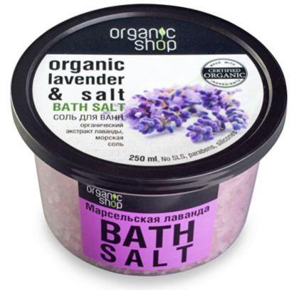 Organic shop соль для ванн марсельская лаванда 250 млOrganic shop<br>Теплая ванна с морской солью и органическим экстрактом лаванды, обладающая расслабляющим эффектом, доставит особое наслаждение. Вы почувствуете, что отдохнули, как после долгого сладкого сна.Использование: Растворите 4 столовые ложки во всем объеме ванны при температуре 36-38 градусов. Продолжительность приема процедуры 10-15 минут.Ингредиенты (INCI): Organic Lavandula Angistifolia Extract (рганический экстракт лаванды), Lavandula Angustifolia Oil (эфирное масло лаванды), Mellissa Officinalis Leaft Oil (масло мелиссы), Maris Salt (морская соль), Parfum, Ribes Nigrum Fruit (экстракт кожицы черной смородины), Citric Acid.Объем: 250 мл.<br><br>Вес г: 280<br>Бренд : Organic shop<br>Объем мл: 250<br>Страна производитель : Россия