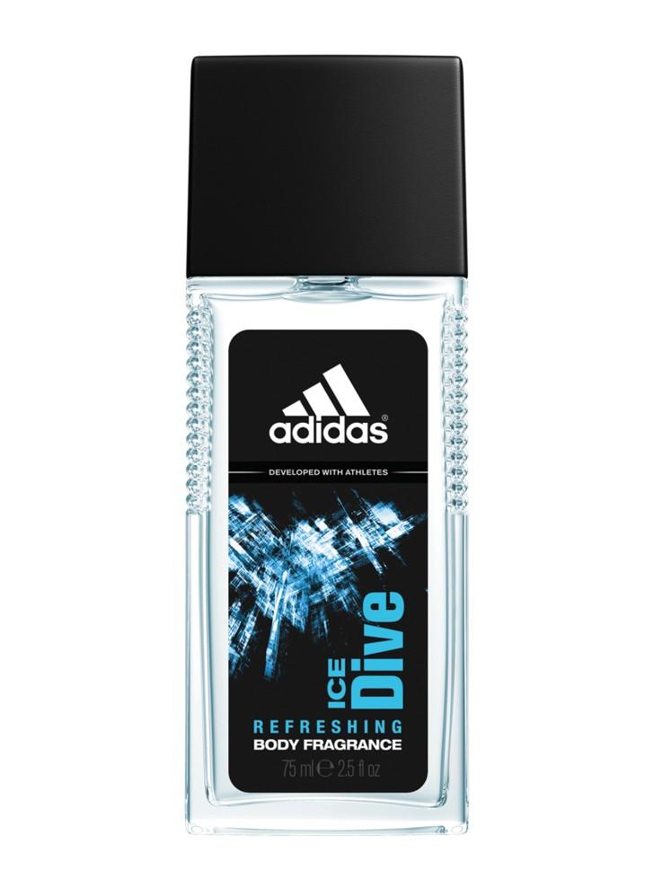 Adidas Ice Dive Парфюмерная вода 75 млAdidas<br>Пряный фужерный аромат Adidas Ice Dive идеально подходит для мужчин, которые никогда не стоят на месте. Легкий освежающий аромат тела. Содержит небольшое количество спирта и парфюмерной композиции, что делает его идеальным для использования в качестве ароматизирующего средства в течение активного дня. Входящие в состав увлажняющие компоненты освежают и тонизируют кожу. Спрей сочетает уход и парфюм одновременно, его можно наносить до спортивной тренировки, во время и после.<br>Состав:<br>AQUA/WATER/EAU, ALCOHOL DENAT., PARFUM/FRAGRANCE, PEG-40 HYDROGENATED CASTOR OIL, ETHYLHEXYL METHOXYCINNAMATE, TRIETHYL CITRATE, LIMONENE, LINALOOL, BENZOPHENONE-3, FARNESOL, BUTYLPHENYL METHYLPROPIONAL, CITRONELLOL, CITRAL, PROPYLENE GLYCOL, HEXYL CINNAMAL, GERANIOL, COUMARIN, BHT, FD&amp;amp;C YELLOW NO.5 (CI 19140), FD&amp;amp;C BLUE NO.1 (CI 42090), EXT.D&amp;amp;C VIOLET NO.2 (CI 60730)<br><br>Вес г: 274<br>Бренд : Adidas<br>Объем мл: 75<br>Страна производитель : Испания<br>Вид Аромата : Пряный фужерный<br>Шлейф : мускус, амбра, древесные ноты<br>Верхняя Нота : мята, лаванда, бергамот<br>Верхняя Нота : мята, лаванда, бергамот