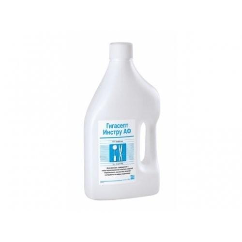 Depilflax Гигасепт Инстру 2 лDepilflax<br>Дезинфицирующее средство, представляет собой прозрачную жидкость зеленого цвета со специфическим запахом. рН средства составляет 8,4+0,3. Средство обладает вирулицидной, бактерицидной (в том числе туберкулоцидной) и фунгицидной активностью. Состав: 14,0% - кокоспропилендиамингуанидина диацетата, 35% - феноксипропанола и 2,5% - бензалкония хлорида.<br>Назначение<br>Предназначено для дезинфекции, в том числе совмещенной с предстерилизационной очисткой, изделий медицинского назначения (включая медицинские инструменты к гибким эндоскопам) в лечебно-профилактических учреждениях. Средство НЕ предназначено для дезинфекции и предстерилизационной очистки самих эндоскопов.<br>Свойства<br>Средство обладает моющими свойствами. Не вызывает коррозии изделий из металлов. Изделия погружают в рабочий раствор средства Гигасепт Инстру АФ сразу же после их использования, не допуская высыхания на них загрязнений. Срок хранения: концентрата 3 года, рабочих растворов – 7 суток.<br><br>Вес г: 550<br>Бренд: Depilflax<br>Объем мл: 500
