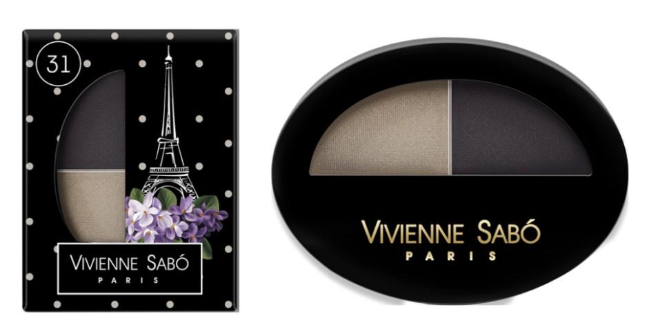 Vivienne Sabo двойные тени для век Jeter du Chic (31 св.серый+черный)Vivienne Sabo<br>Великолепный дуэт, сочетающий в себе два оттенка: темный и светлый — это все, что нужно для того, чтобы выглядеть шикарно! Удивительные контрасты и волнующие комбинации тонов для обворожительных глаз. Мягкая шелковистая текстура двойных теней для век Vivienne Sabo оставляет длительное ощущение комфорта на веке! Новая овальная упаковка с «окошком» — для удобства в выборе любимого оттенка  Свойства  - Дуэт теней светлого и темного  - Мягкая текстура легко наносится и растушевывается оставляя ощущение комфорта  - Устойчивый результат — тени держатся весь день и не требуют под правления, без скатывания в складочке века  - Яркие переливчатые цвета для выразительного вечернего макияжа  - Приглушенные и классические цвета для дневного и делового макияжа<br><br>Вес г: 15<br>Бренд : Vivienne Sabo<br>В комплекте : аппликатор<br>Способ нанесения : влажный<br>Эффект на веках : сатиновый<br>Тип теней : палитра теней<br>Страна производитель : Франция