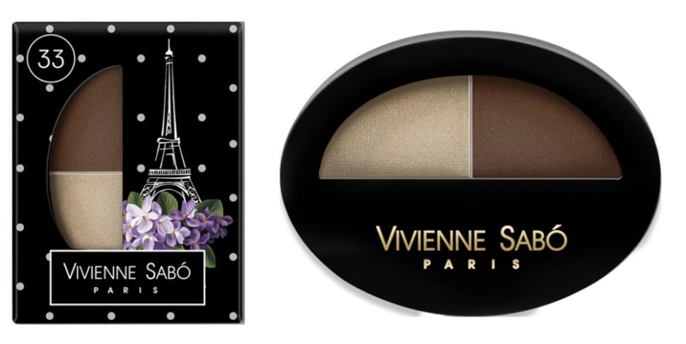 Vivienne Sabo двойные тени для век Jeter du Chic (33 бежевый+коричневый)Vivienne Sabo<br>Великолепный дуэт, сочетающий в себе два оттенка: темный и светлый — это все, что нужно для того, чтобы выглядеть шикарно! Удивительные контрасты и волнующие комбинации тонов для обворожительных глаз. Мягкая шелковистая текстура двойных теней для век Vivienne Sabo оставляет длительное ощущение комфорта на веке! Новая овальная упаковка с «окошком» — для удобства в выборе любимого оттенка  Свойства  - Дуэт теней светлого и темного  - Мягкая текстура легко наносится и растушевывается оставляя ощущение комфорта  - Устойчивый результат — тени держатся весь день и не требуют под правления, без скатывания в складочке века  - Яркие переливчатые цвета для выразительного вечернего макияжа  - Приглушенные и классические цвета для дневного и делового макияжа<br><br>Вес г: 15<br>Бренд : Vivienne Sabo<br>В комплекте : аппликатор<br>Способ нанесения : влажный<br>Эффект на веках : сатиновый<br>Тип теней : палитра теней<br>Страна производитель : Франция