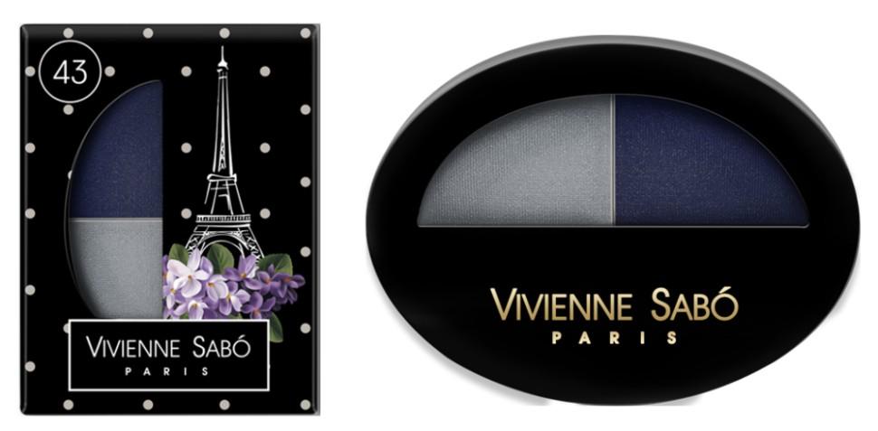 Vivienne Sabo двойные тени для век Jeter du Chic (43 серый+синий графит)Vivienne Sabo<br>Великолепный дуэт, сочетающий в себе два оттенка: темный и светлый — это все, что нужно для того, чтобы выглядеть шикарно! Удивительные контрасты и волнующие комбинации тонов для обворожительных глаз. Мягкая шелковистая текстура двойных теней для век Vivienne Sabo оставляет длительное ощущение комфорта на веке! Новая овальная упаковка с «окошком» — для удобства в выборе любимого оттенка  Свойства  - Дуэт теней светлого и темного  - Мягкая текстура легко наносится и растушевывается оставляя ощущение комфорта  - Устойчивый результат — тени держатся весь день и не требуют под правления, без скатывания в складочке века  - Яркие переливчатые цвета для выразительного вечернего макияжа  - Приглушенные и классические цвета для дневного и делового макияжа<br><br>Вес г: 15<br>Бренд : Vivienne Sabo<br>В комплекте : аппликатор<br>Способ нанесения : влажный<br>Эффект на веках : сатиновый<br>Тип теней : палитра теней<br>Страна производитель : Франция
