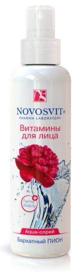 Novosvit AQUA-спрей бархатный пион «витамины для лица» 190 млNovosvit<br>Действие:Вода, обогащенная экстрактом цветов пиона и натуральным мультиувлажнителем «Fucogel», разработана для ежедневного ухода за кожей лица и шеи. Идеально защищает кожу от обезвоживания после пребывания на солнце, во время авиаперелетов, занятий спортом, работы в условиях закрытых офисных помещений.Эффективность:Пион – изысканный нежный цветок с бархатными лепестками, богат витаминами, органическими кислотами, эфирным маслом, флавоноидами, дубильными веществами, витамином С, ценными белками и микроэлементами (цинк Zn, магний Mg, кальций Ca, калий К, железо Fe, медь Cu, хром Cr).Способ применения:Распыляйте на расстоянии 20 см на кожу лица и зону декольте. При необходимости излишки промокните салфеткой. Можно распылять поверх макияжа. Подходит для всех типов кожи. Возможна индивидуальная непереносимость компонентов.Объем: 190 мл<br><br>Вес г: 220<br>Бренд : Novosvit<br>Объем мл: 190<br>Тип кожи : все типы кожи<br>Страна производитель : Россия