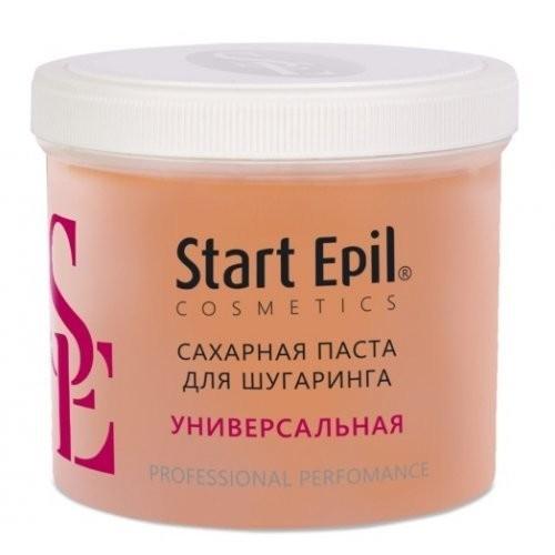 Start Epil Сахарная паста Универсальная 750грStart Epil<br>Сахарная паста для шугаринга Start Epil предназначена для мануальной техники депиляции, не требуют разогрева до 37 °C. Достаточно хранить и использовать при комнатной температуре. Паста очень пластичная и мягкая, быстро нагревается до температуры тела, легко удаляет любые волоски.<br>Сахарная паста не травмирует живые клетки кожи, деликатно удаляя волосы 2-5 мм. Волосы становятся более тонкими и ослабленными. Диаметр уменьшается на 50%. Последующие процедуры депиляции становятся менее болезненными и понадобятся все реже и реже.<br><br>Вес г: 800<br>Бренд: Start Epil<br>Объем мл: 750